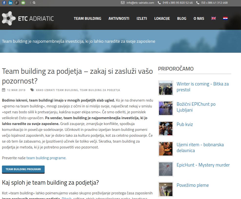 seo optimizacija wordpress team building strani