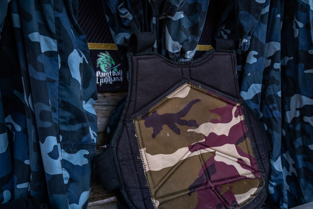paintball body armor and jumsuit in camouflage pattern